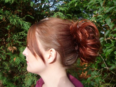 hair extension red scrunchie up down do spiky fire copper