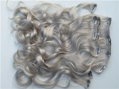 Silver Grey Clip In Hair Extensions 121