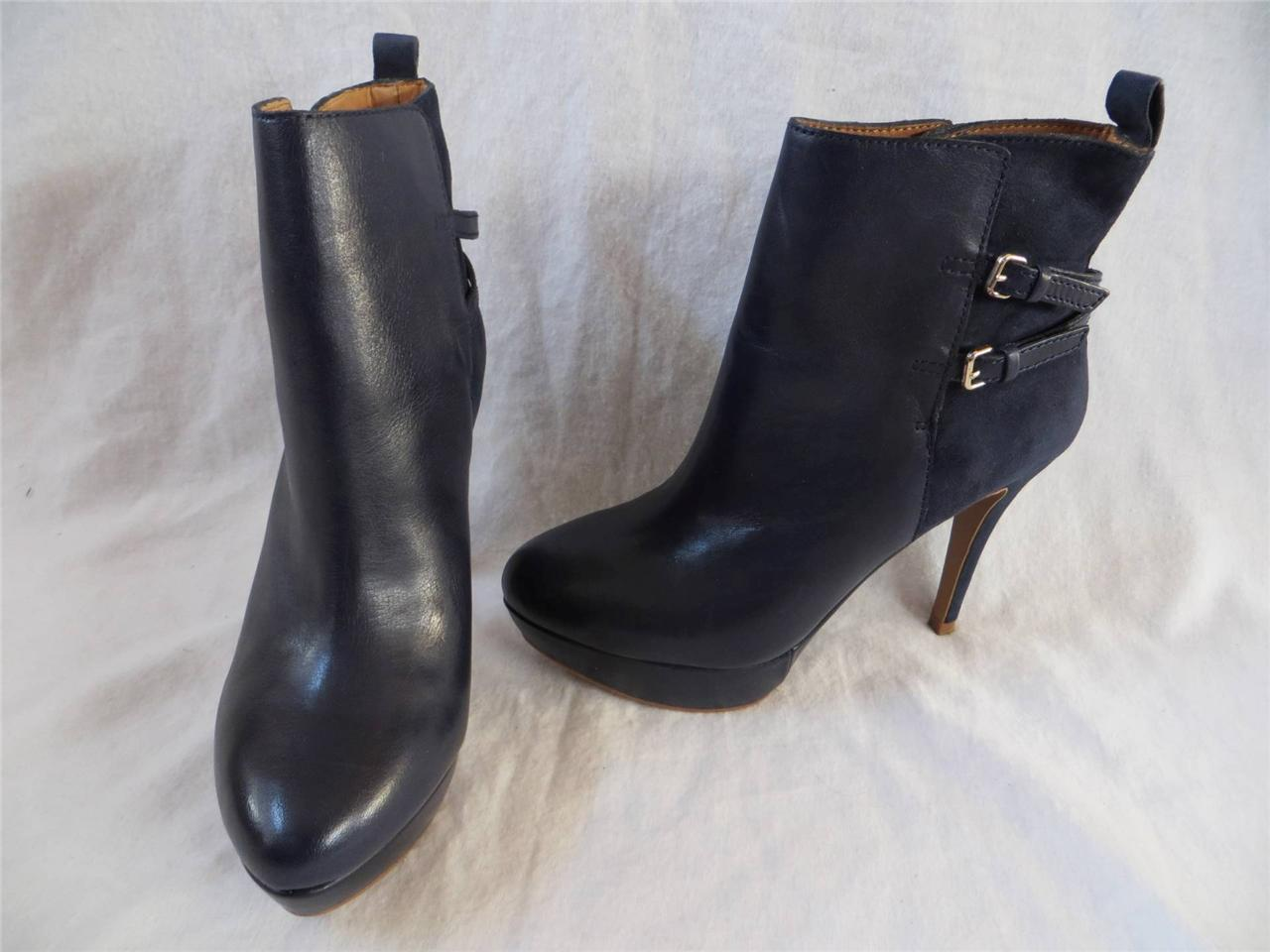 zara navy blue suede leather buckle high heel platform