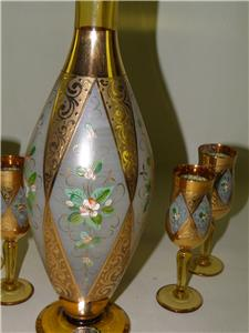 Gilded Venetian Glasses Amber Liquor