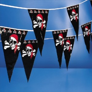 100 Feet Foot Ft PIRATE SKULL BONES FLAG BANNER PENNANT PARTY SUPPLY