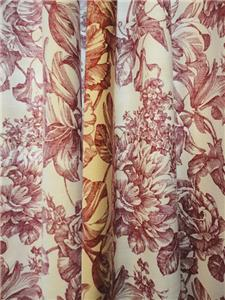 Waverly 47 X 88 Lined Garden Toile Curtain Panel Pair Red