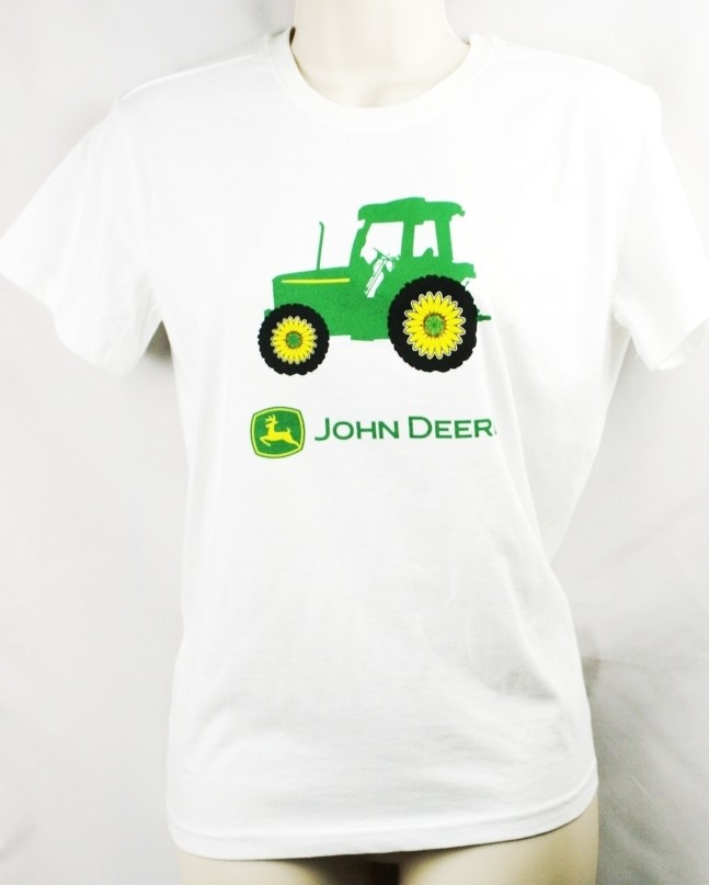 John Deere T Shirt Tractor White 100 Cotton Farm New Ebay