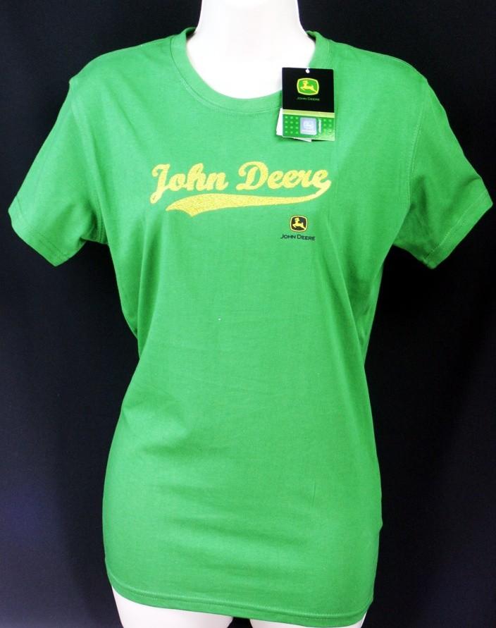 Nwt john deere ladies logo sequins t shirt authentic green for John deere shirts for kids
