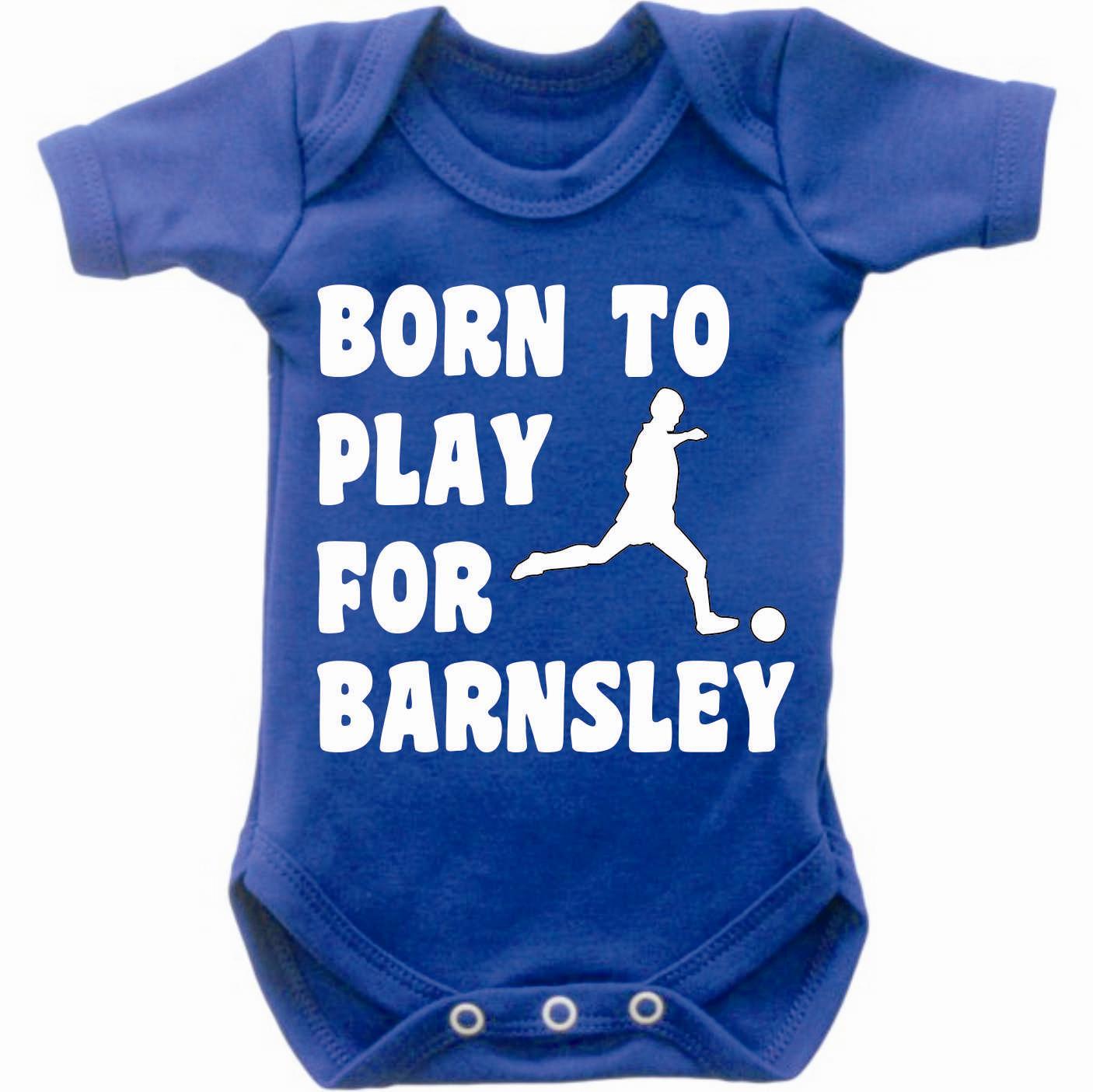 Born-To-Play-Football-For-Barnsley-Baby-Grow-Bodysuit-Romper-Vest