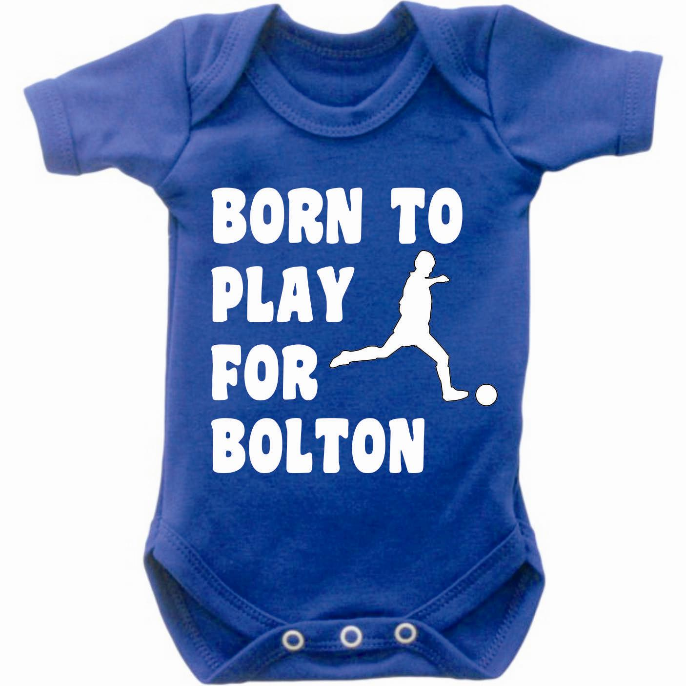 Born-To-Play-Football-For-Bolton-Baby-Grow-Bodysuit-Romper-Vest