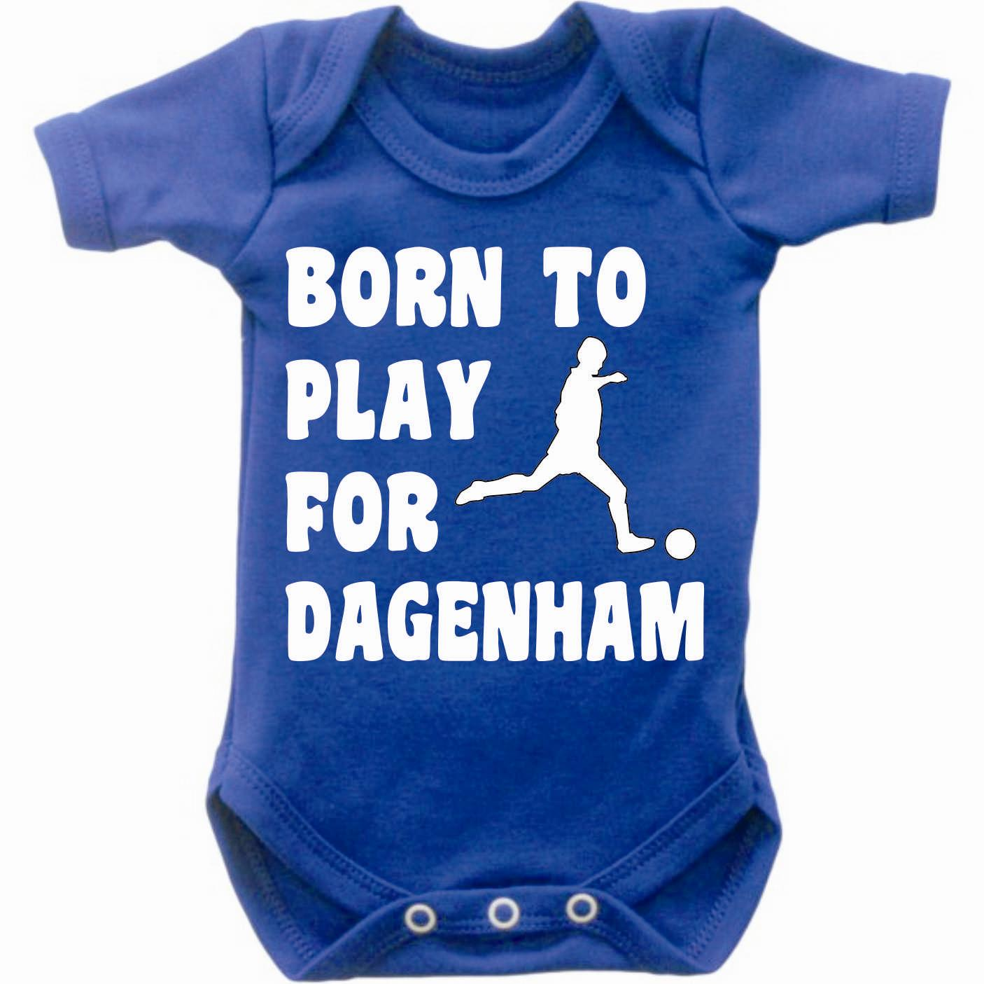 Born-To-Play-Football-For-Dagenham-Baby-Grow-Bodysuit-Romper-Vest