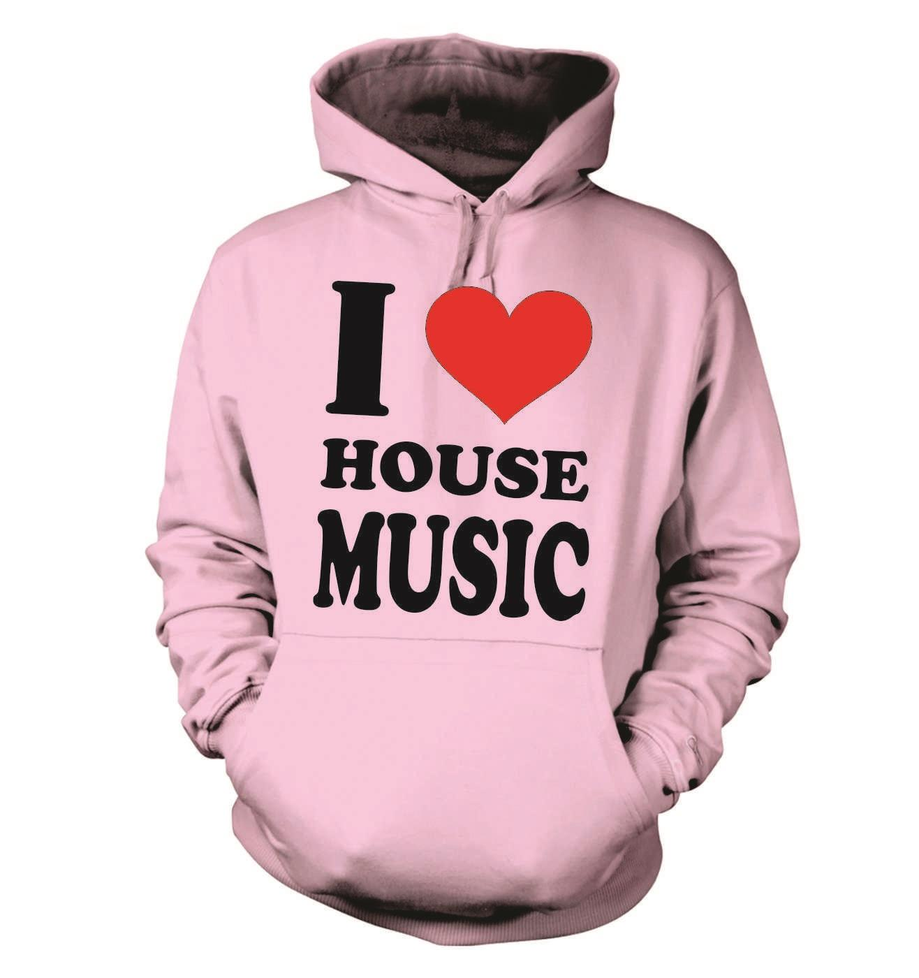 Adults-I-Love-Heart-House-Music-Unisex-Hooded-Sweatshirt-Hoody-Birthday-Music