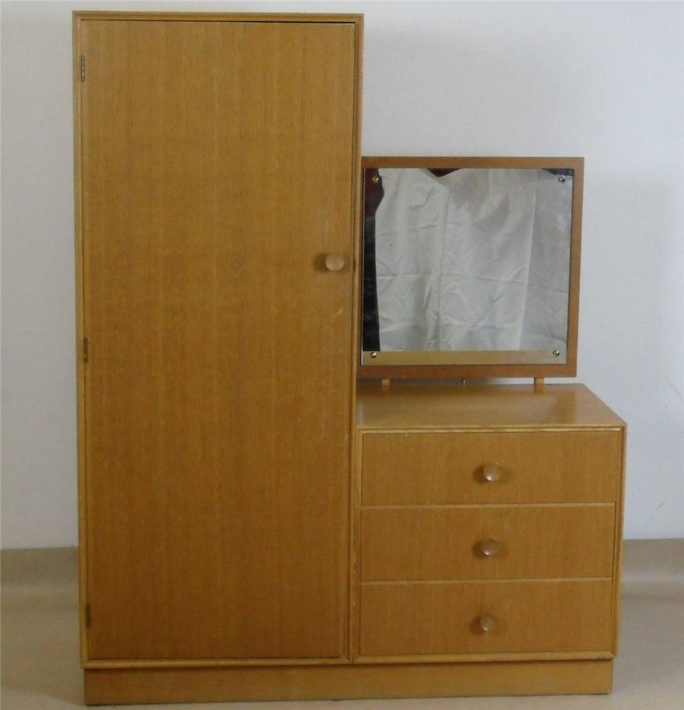 Wardrobe With Table: Vintage Teak Meredew Wardrobe With Dressing Table