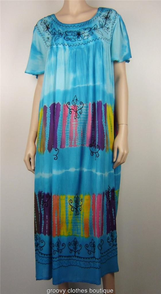 Plus Size Baby Doll Tie Dye FESTIVAL Maxi Cap Sleeve Dress