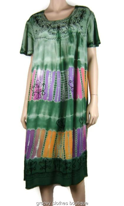 Plus Size Baby Doll TIE DYE Festival Short Dress Green