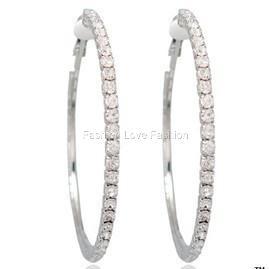 1P Silvertone Clip on Rhinestone Hoop Earrings s to 2XL
