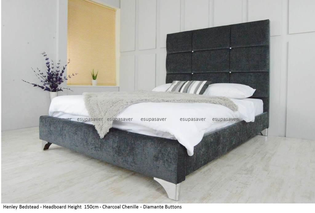 henley extra high bed frame upholstered chenille all colours sizes made in uk - High Bed Frames