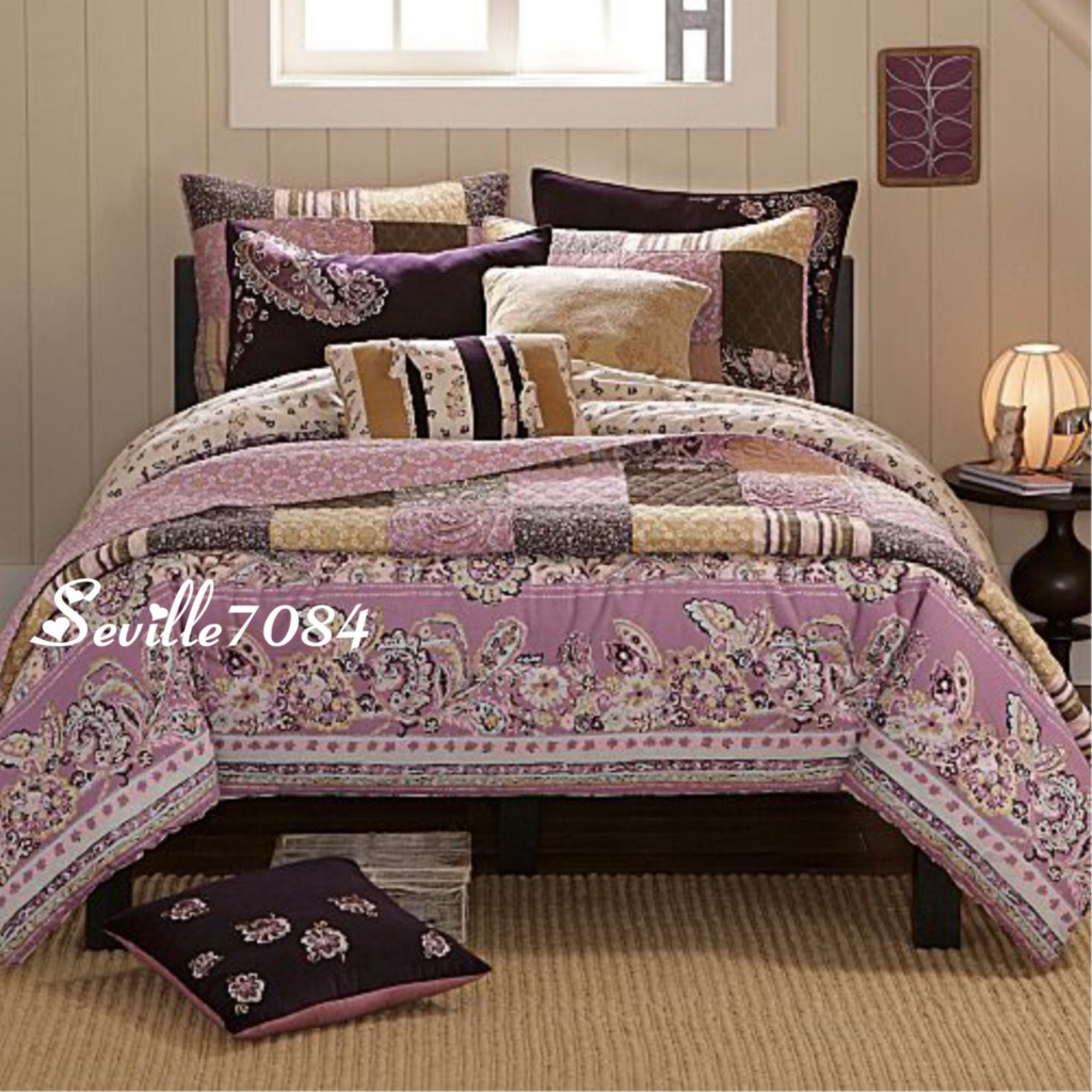 Details about 11p twin paisley comforter quil t purple pink brown new