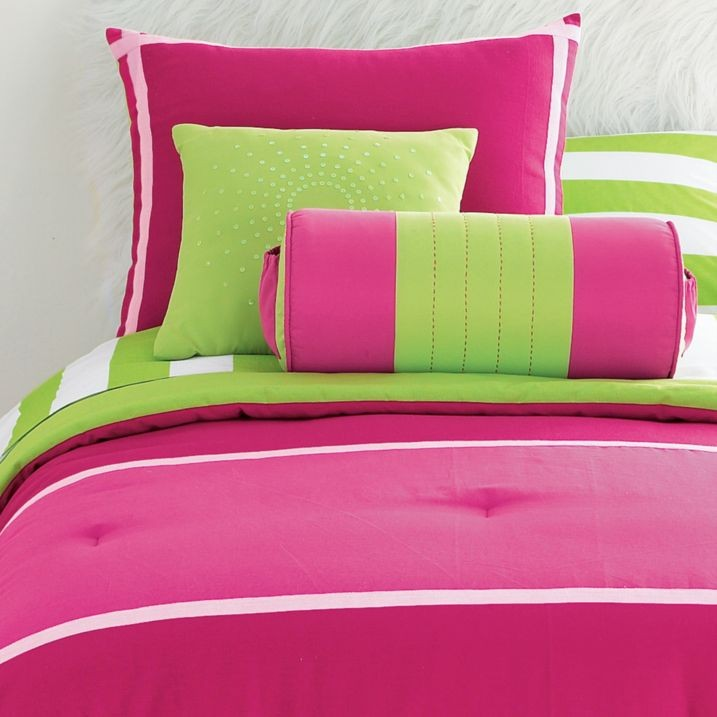 details about 12p queen comforter pink lime green val drap es girl new. Black Bedroom Furniture Sets. Home Design Ideas
