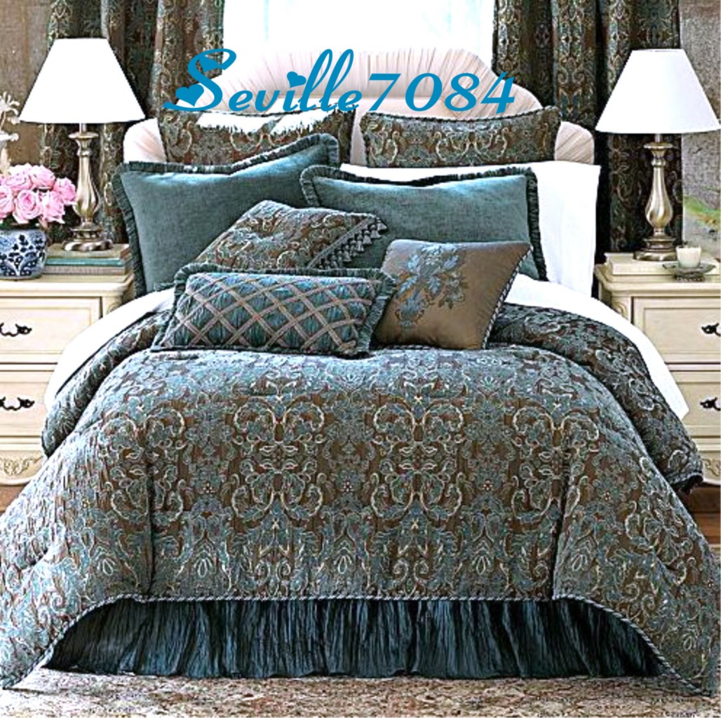 Top 28 Teal Brown Comforter Sets 7 Pc Floral Scroll
