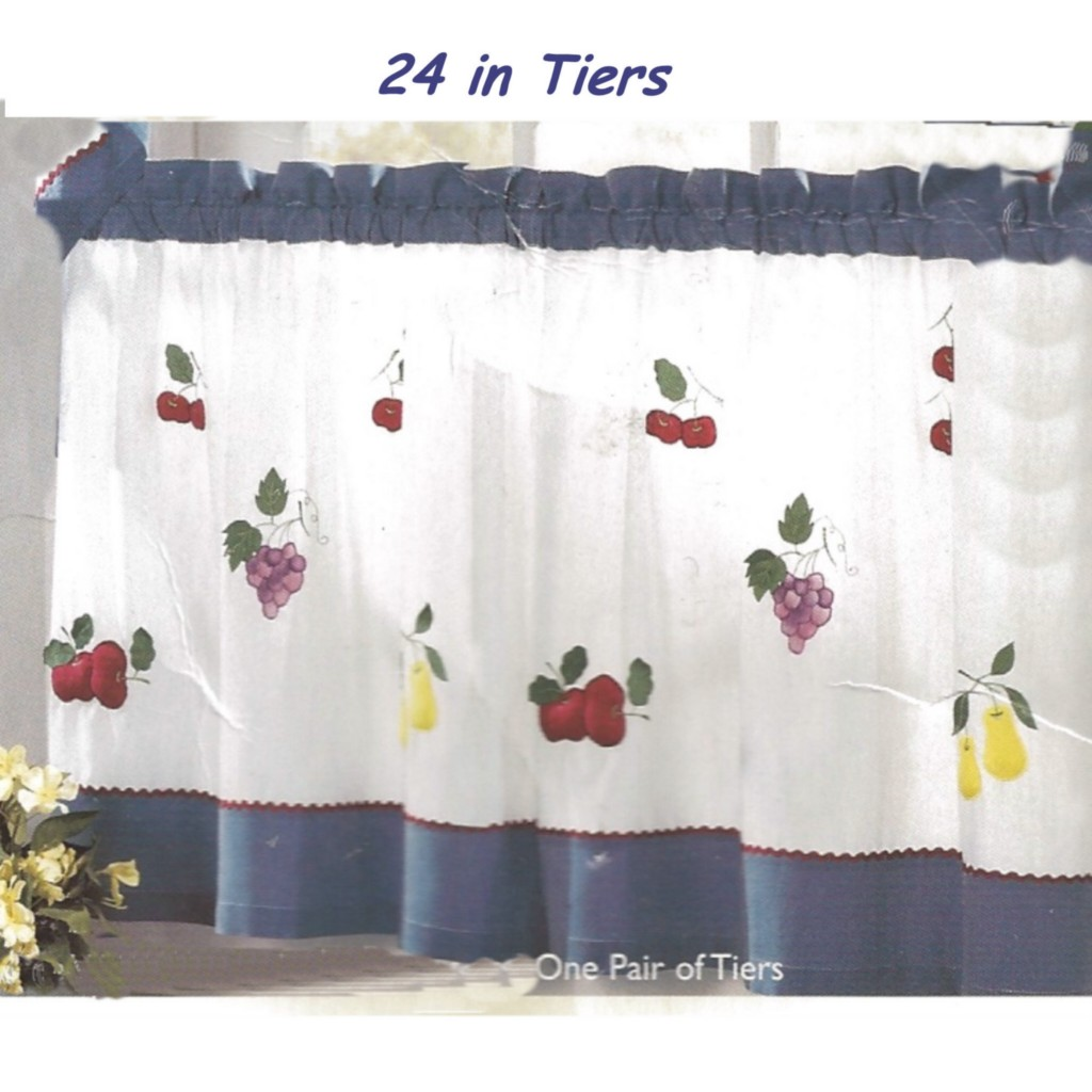 Fruit Pattern Kitchen Curtains: Kitchen Curtain Puffy Fruit Tiers~White+Blue~Cherry,Pear
