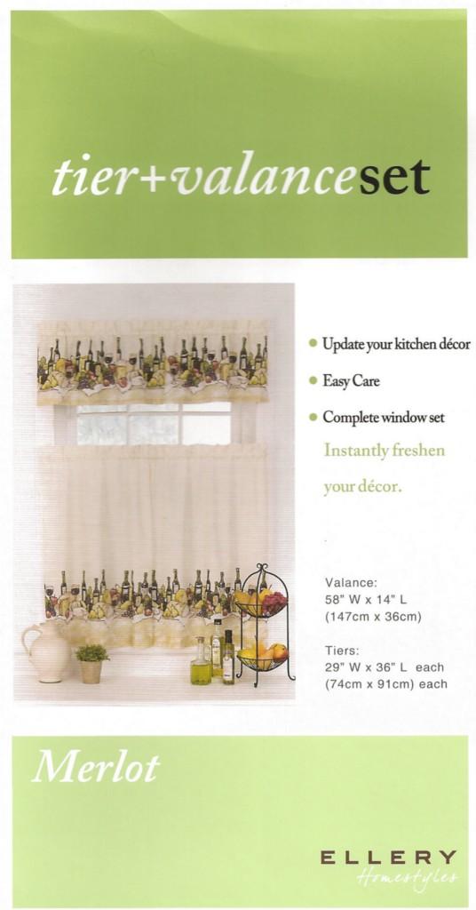 Curtain Tiers Valance Wine Bottles Kitchen Tuscan Theme Merlot Rod Opening New Ebay