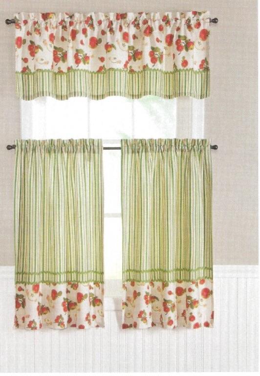 kitchen curtain tiers valance set apple fruit n stripes red green 60 x 36 new ebay. Black Bedroom Furniture Sets. Home Design Ideas