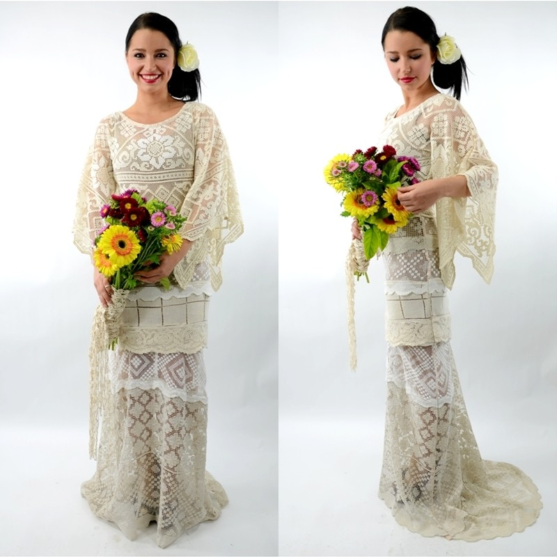 CREAM Cathedral MEDIEVAL Angel Mermaid FISHTAIL Crochet LACE WEDDING Dress 10