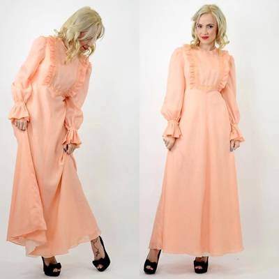PASTEL-Apricot-70s-RUFFLE-Victorian-MAXI-Evening-Wedding-BRIDESMAID-DRESS-10-S
