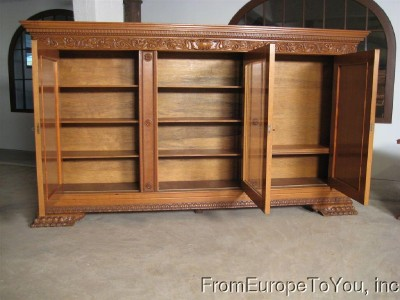 Antique German Furniture on Large German Oak Antique Bookcase 08bl040a   Ebay