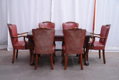 BEAUTIFUL ANTIQUE WALNUT GERMAN DINING ROOM SET DINING