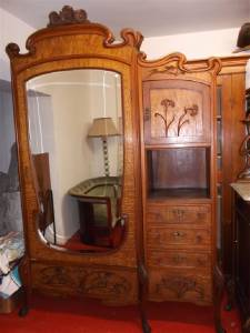 beautiful very rare italian art nouveau bedroom set armoire 14it022a ebay. Black Bedroom Furniture Sets. Home Design Ideas