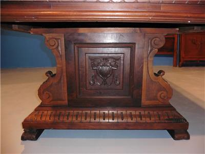 ITALIAN ANTIQUE HEAVY CARVED WALNUT DINING ROOM SET TABLE