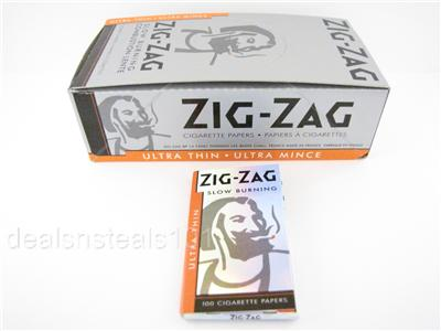 25 box zig zag ultra thin slow burning rolling papers 100 leaves per pack ebay. Black Bedroom Furniture Sets. Home Design Ideas