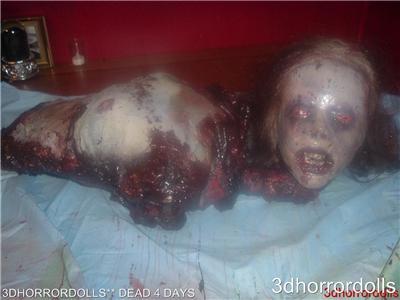 Film Gory Dead 4 Days Female Corpse Zombie Halloween Prop