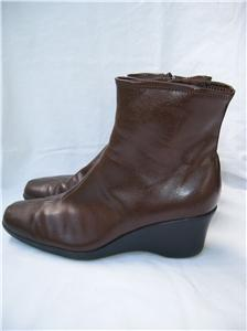 impo brown stretch side zip faux leather vegan wedge heel
