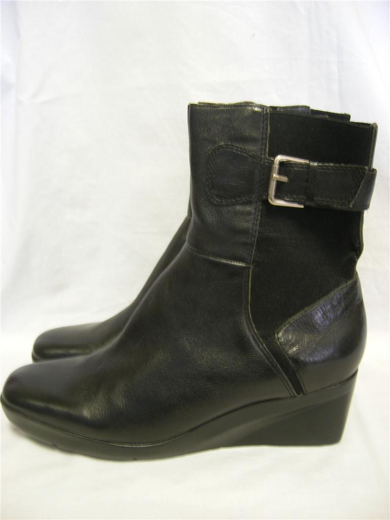 nine west steamy black leather elastic wedge heel platform