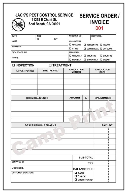Pest control service order invoice 2 part carbonless ebay for Pest control invoice pdf