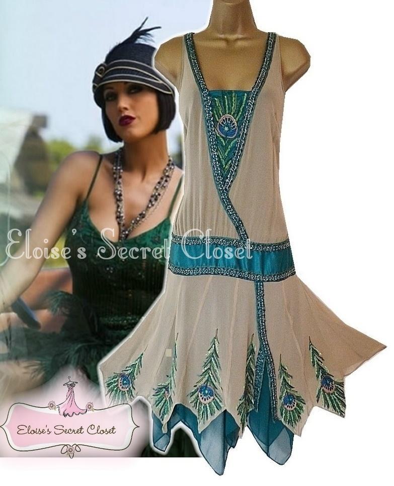 ... Flapper 20's Peacock Silk Beaded Evening Cocktail Dress 10   eBay