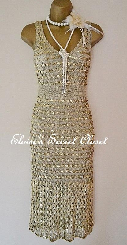 stunning coast gold 20 s gatsby couture vintage crochet