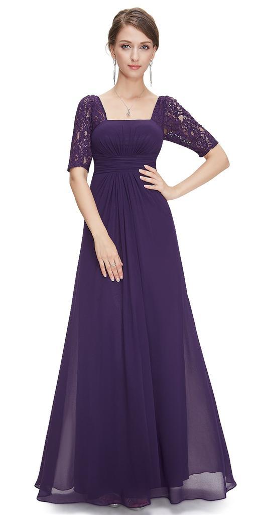 Purple maxi evening dress uk size