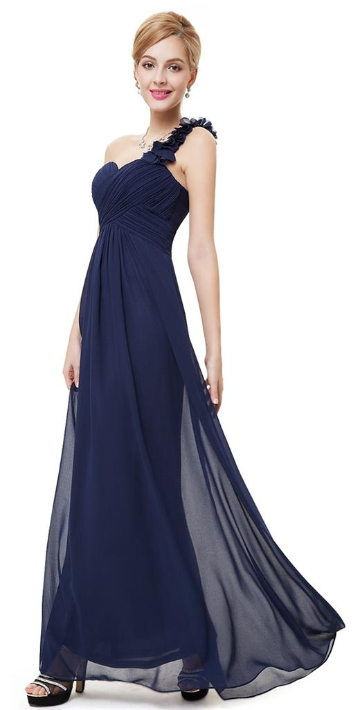 Bnwt elodie navy blue corsage chiffon maxi prom evening for Navy blue maxi dress for wedding