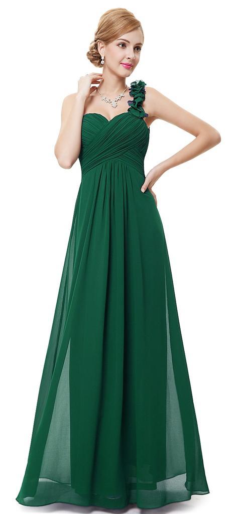 Preferenza Nwt Scuro Verde Smeraldo Corpetto Vestito Chiffon Maxi Da Sera  KI38