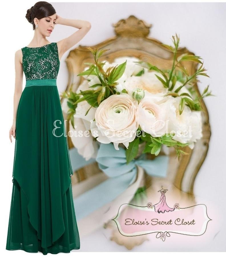 Bnwt Alice Emerald Green Lace Chiffon Prom Evening