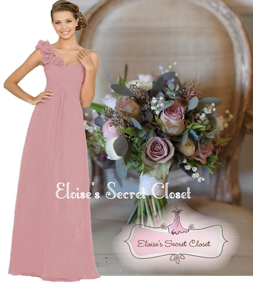 Asha dusky pink various colours corsage chiffon for Dusky pink wedding dress