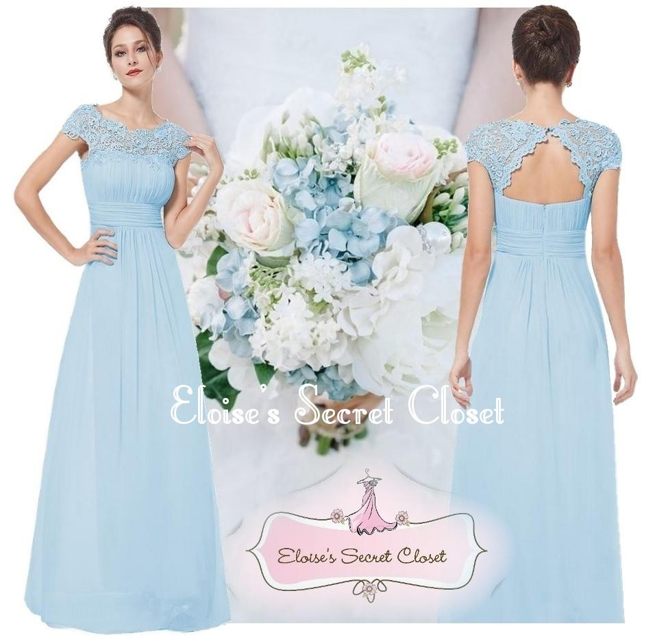 Wedding Baby Blue Bridesmaid Dresses katie baby blue lace full length maxi prom evening bridesmaid dress