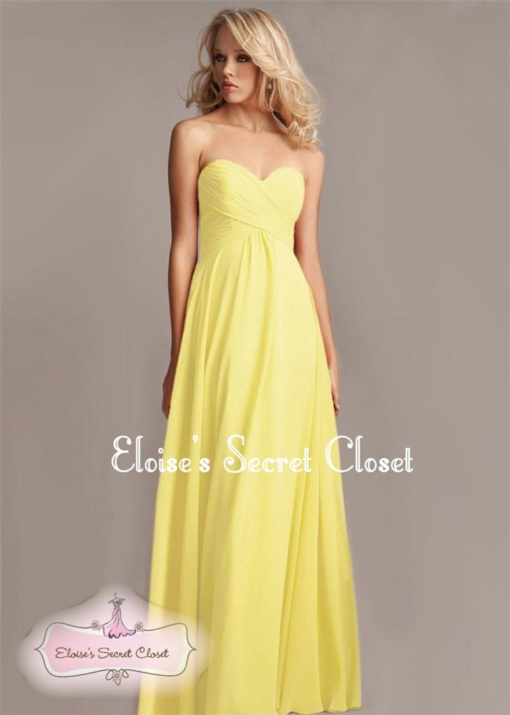 Bnwt elsa lemon yellow chiffon prom bridesmaid occasion for Yellow maxi dress for wedding