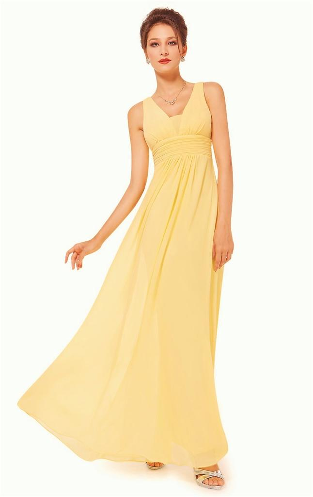 Bnwt emily buttercup yellow chiffon maxi prom evening for Yellow maxi dress for wedding