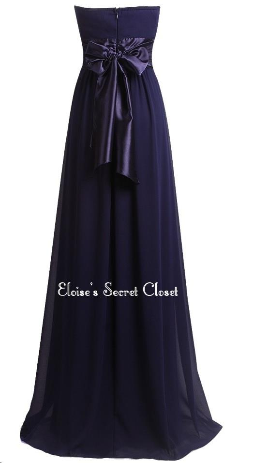Aurora navy blue strapless chiffon maxi prom evening for Navy blue maxi dress for wedding