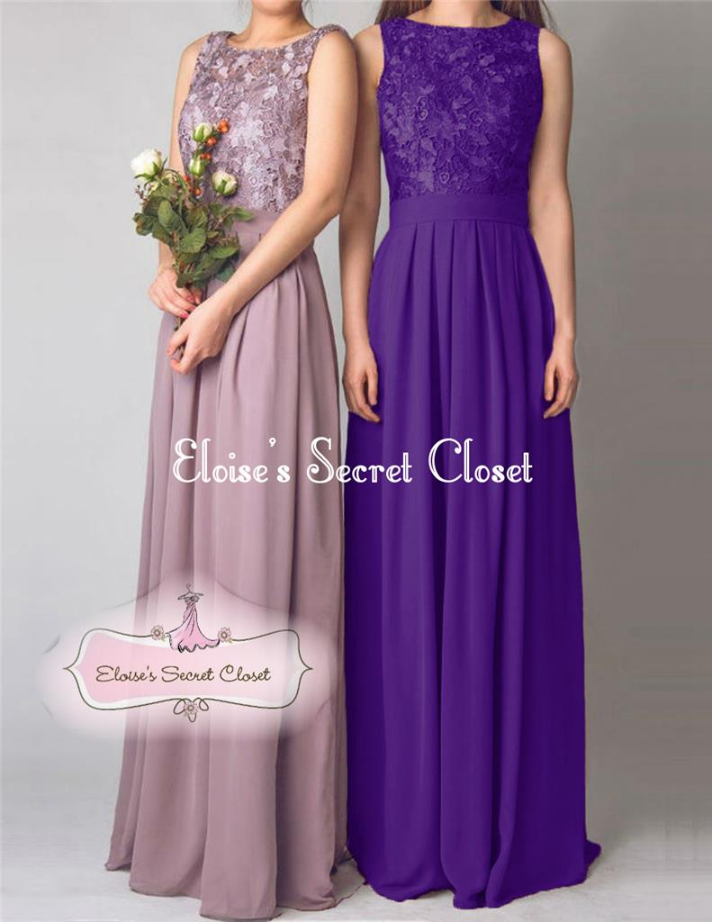 Lydia cadbury purple lace chiffon prom evening bridesmaid for Purple wedding dresses for bridesmaids