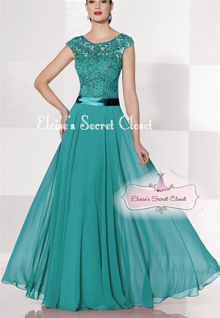 Bnwt bryony teal lace chiffon maxi bridesmaid ballgown for Ebay wedding dresses size 18 uk