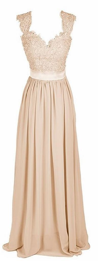 Riva lace chiffon champagne taupe maxi bridesmaid evening for Taupe lace wedding dress