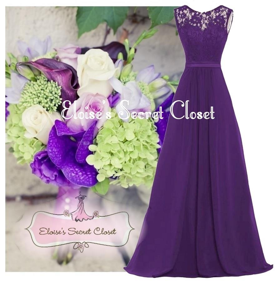 Grace cadbury purple lace chiffon maxi bridesmaid ballgown for Purple maxi dresses for weddings