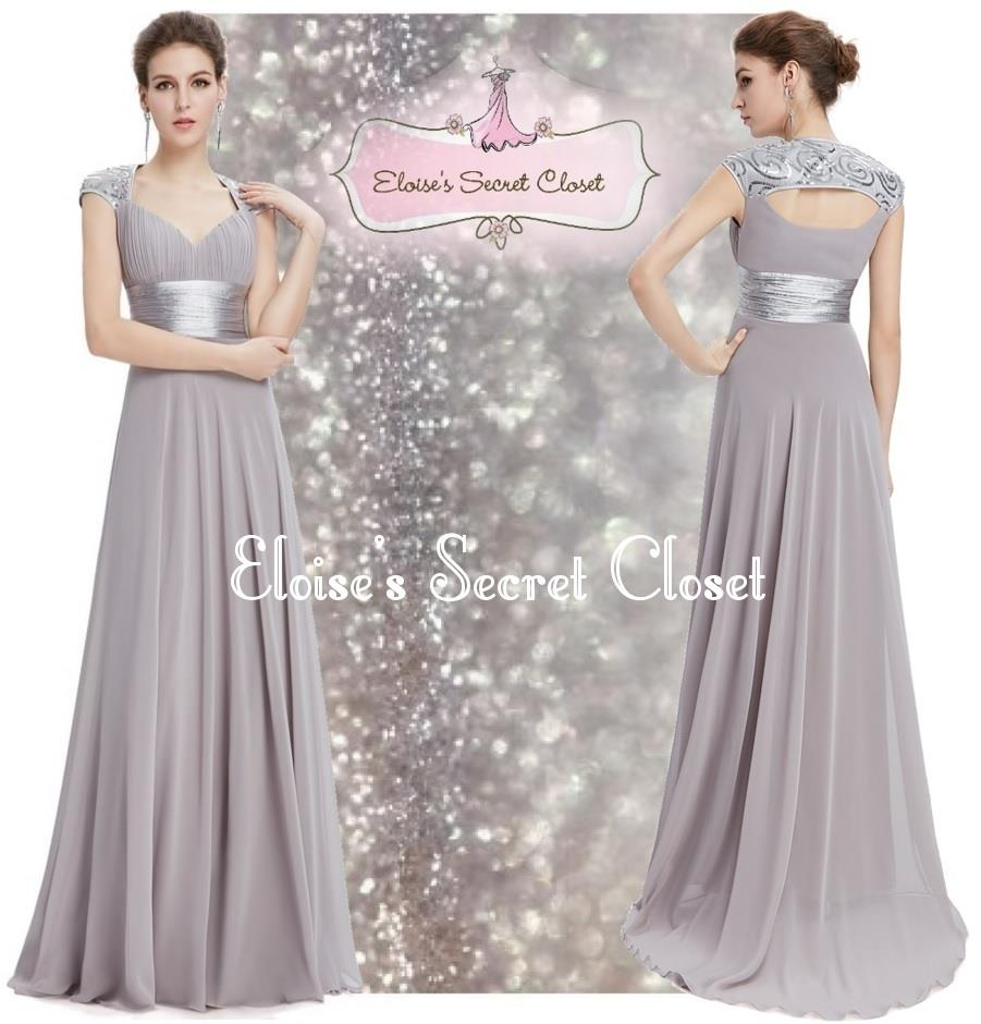 Aphrodite silver grey sequin chiffon prom evening for Silver wedding dresses for sale